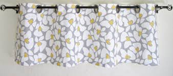 Grommet Kitchen Curtains Grey Yellow White Valance Valance 50 U0027 U0027x16 U0027 U0027 Premier Prints Helen