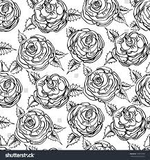 sketched roses pattern black outline stock vector 139818700