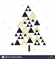 gold geometric christmas tree symbol isolated on white vector