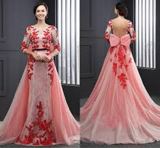 designer 2017 formal mermaid evening gowns long sleeves red lace