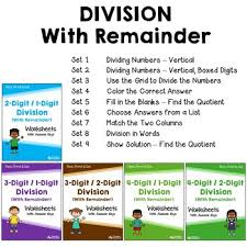 multi digit division practice worksheets with answer keys tpt