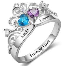 2 s ring 2 crowned mothers or anniversary ring think engraved