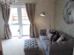 cae nant show home living room featuring silver linen