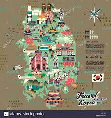 map with attractions wonderful south korea travel map with attractions design stock