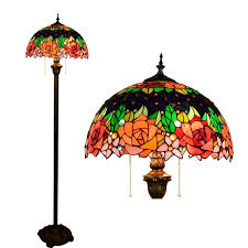 Stained Glass Floor Lamp 16inch Tiffany Red Rose Flower Stained Glass Floor Lamp E27 110