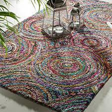Multi Coloured Rug Uk Fair Trade Tufted Recycled Cotton Rug Multi Coloured Spiral Design