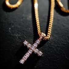 man gold cross necklace images Cuban link chain ankh gold chains for men plug pendant jpeg