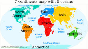 map continents 7 continents of the world and their countries