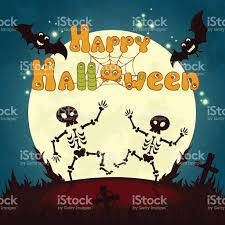 halloween poster design with full moon and cute dancing skeletons
