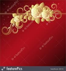 Golden Roses Templates Golden Roses On Red Stock Illustration I2671119 At