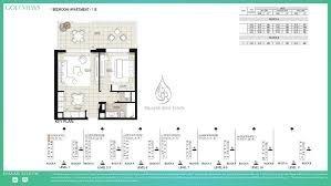 1 Bedroom Apartment Floor Plans by Views By Emaar 1 Bedroom Apartment 1b Floor Plan