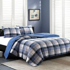 Coverlet Bedding Sets Traditional 3pc Blue Plaid Cotton Coverlet Bedding Set W Matching