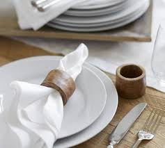 how to set a table with napkin rings vintage wood napkin ring set of 4 pottery barn