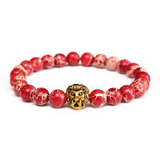 elastic bead bracelet images Red sea sediment stone lion head beads bracelet elastic bangle jpg
