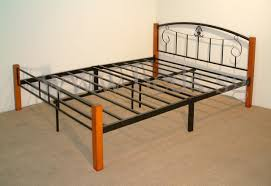 bed frame grey twin metalrame with striped headboard combined by