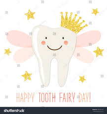 cute greeting card tooth fairy day stock vector 378725149