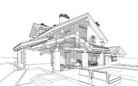 3d render sketch of modern cozy house in chalet style for sale