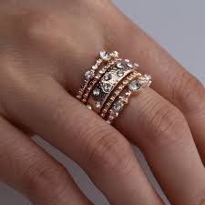 anti engagement ring 5pcs set anti allergy cubic zirconia paved engagement rings sets