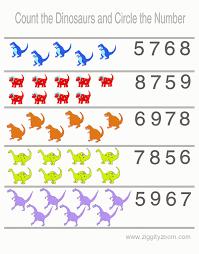 preschool worksheet counting dinosaurs ziggity zoom