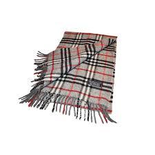 burberry nova check plaid scarf grey gray red and black and