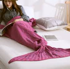 1pc sofa crochet mermaid tail blanket soft knitted mermaid blanket