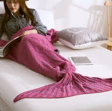 1pc sofa crochet mermaid tail blanket soft knitted mermaid blanket
