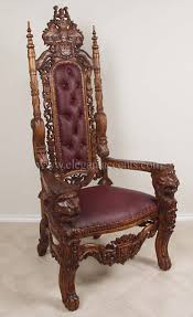 Throne Chair King Throne Chair Wax Burgundy Home Decor