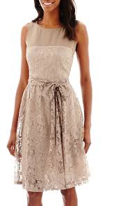jcpenney danny nicole sleeveless lace tie waist fit and flare
