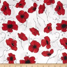 Home Decor Print Fabric Loralie Lady In Red Poppies White Discount Designer Fabric
