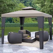 Small Gazebos For Patios by Exterior Unique Hardtop Gazebo With Elegant Dark Wicker Outdoor