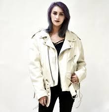 white motorcycle jacket vintage white leather biker jacket size large xl motorcycle
