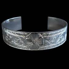custom silver bracelets floral engraved silver bracelet armstrong engraving custom jewelry