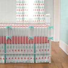 Teal Crib Bedding Coral And Teal Arrow 2 Crib Bedding Set Carousel Designs