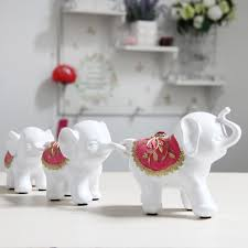 white small home decoration elephant family creative craft
