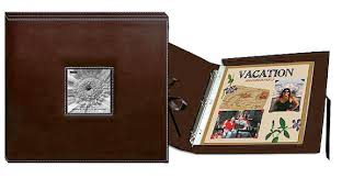 pioneer 12 x 12 sewn scrapbook box stitched brown