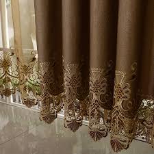 brown color jacquard elegant curtains
