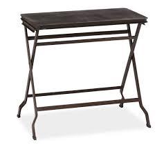 fold away tray table carter metal folding tray table black pottery barn contemporary
