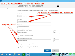 set up icloud account on pc setting up icloud email on windows 10 mail app miapple me