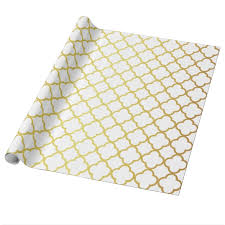 quatrefoil wrapping paper gold and white quatrefoil geometric wrapping paper