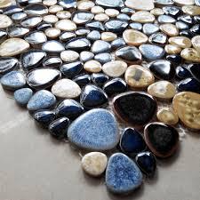online shop tst porcelain pebbles art fambe mosaic blue glazed