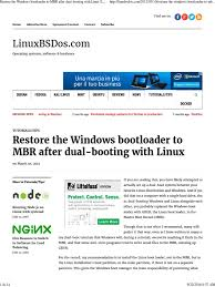 restore the windows bootloader to mbr after dual booting with
