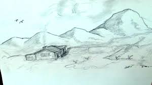 how to draw beautiful drawing how to draw beautiful landscape with huts mountains clouds birds