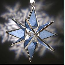 light blue cathedral glass moravian ornaments