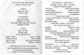 memorial program wording clifton a bud cook funeral program family preserves