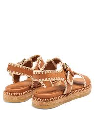 lyst see by chloé blanket stitch embellished leather sandals in