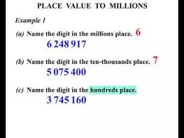6th grade place value to millions youtube