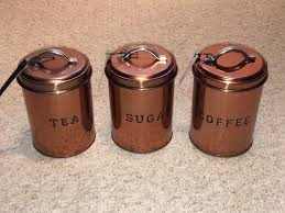 coffee kitchen canisters set of 3 copper tea sugar coffee kitchen tin canisters day
