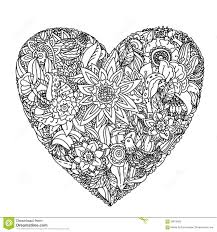 design coloring book abstract trees in heart shape line art design for coloring book