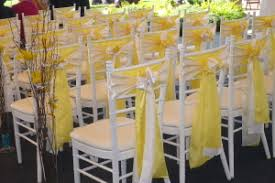 yellow chair sashes chair sashes platinum designs wedding linens rentals greater