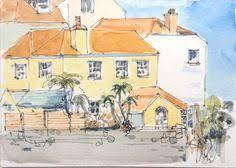 doodlewash and watercolor sketch of buildings in salamanca spain